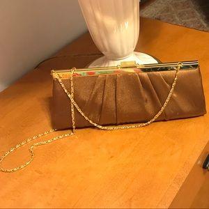 Handbags - Brown satin clutch